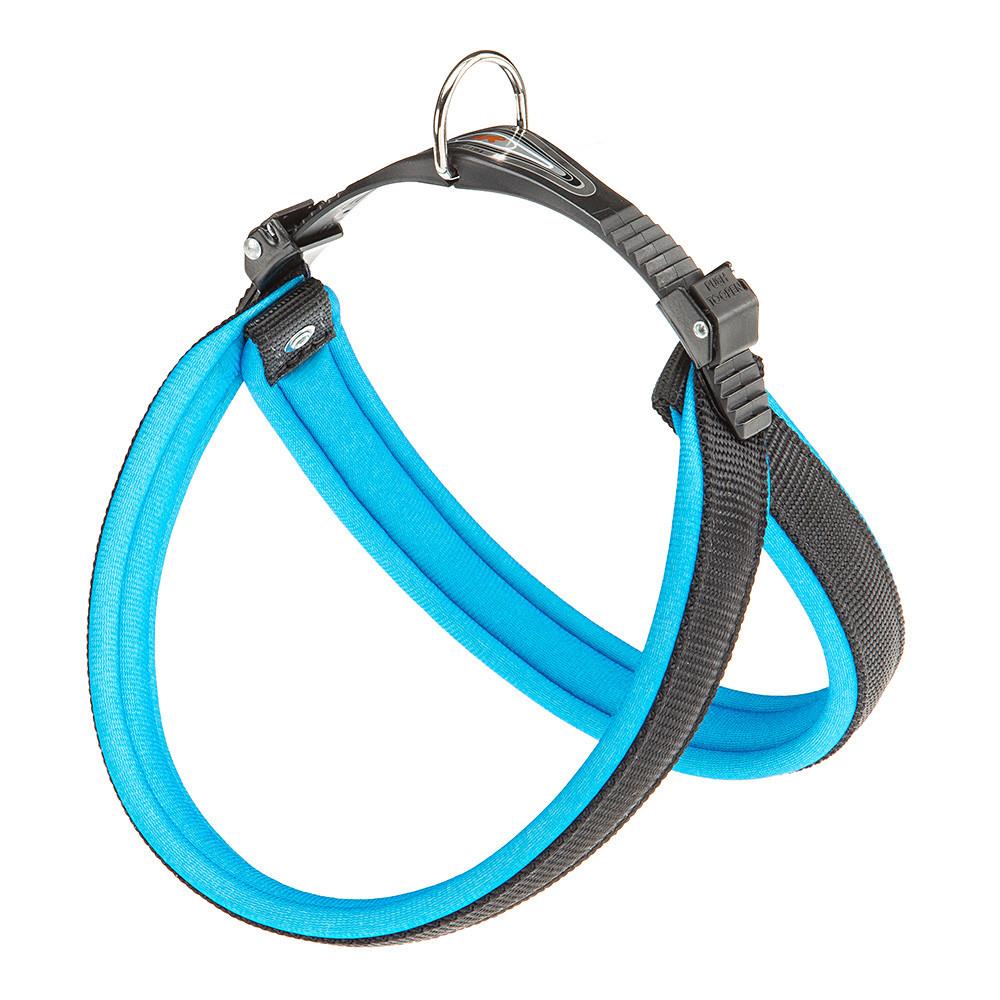 Ферпласт Шлейка Agila Fluo 7, обхват шеи и груди 63-71 см, ширина 2,5 см, синяя, нейлон, Ferplast