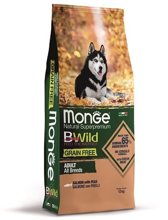 Монже Корм беззерновой BWild GRAIN FREE для собак всех пород, Лосось/Горох, Monge