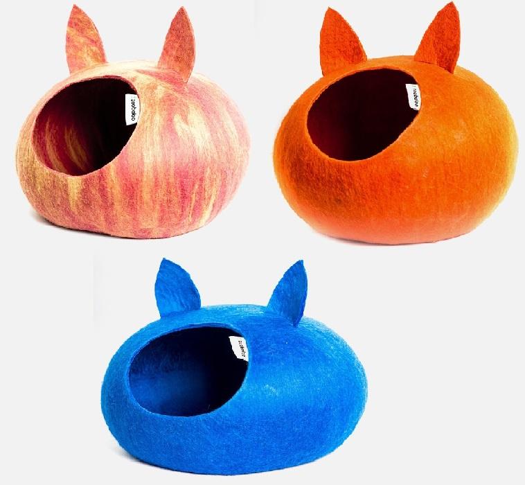 Зообалу Домик Уютное гнездышко с ушками для собак и кошек, 40*40*20 см, шерсть мериноса, в ассортименте, Zoobaloo