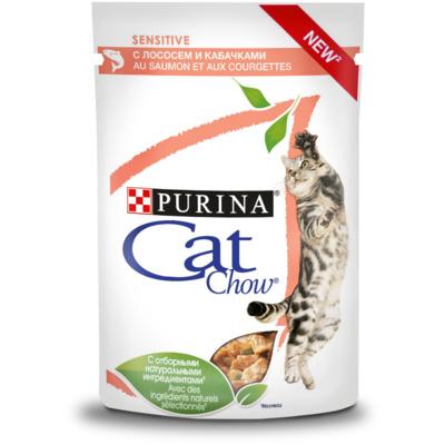 Кэт Чау Паучи для кошек чувствительным пищеварением Кусочки в соусе 24*85 г, Лосось/Кабачок, Cat Chow Purina