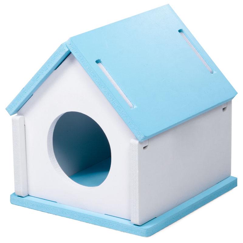 Триол Дом для мелких грызунов Трансформер 9,5*9,5*10,5 см бело-голубой, ПВХ, Triol