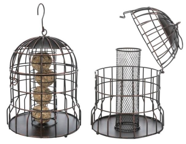 Трикси Кормушка для птиц с защитной решеткой уличная подвесная, в ассортименте, 20*25 см, металл, черный/бронза, Trixie