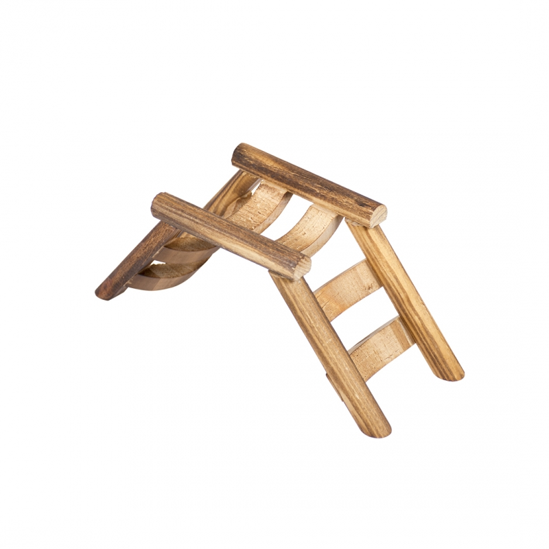 Дуво+ Лесенка-горка коричневая деревянная для мелких грызунов, 18*7*7,5 см, Duvo+