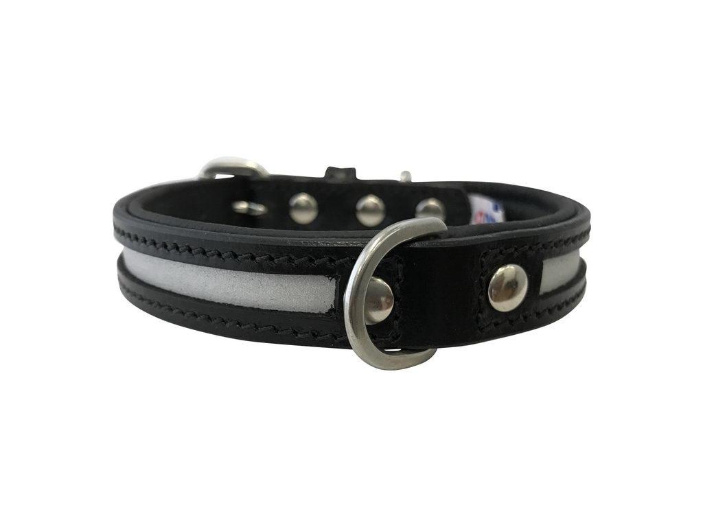 Энджел Ошейник для собак светоотражающий New York, натуральная кожа, черный, в ассортименте, Angel