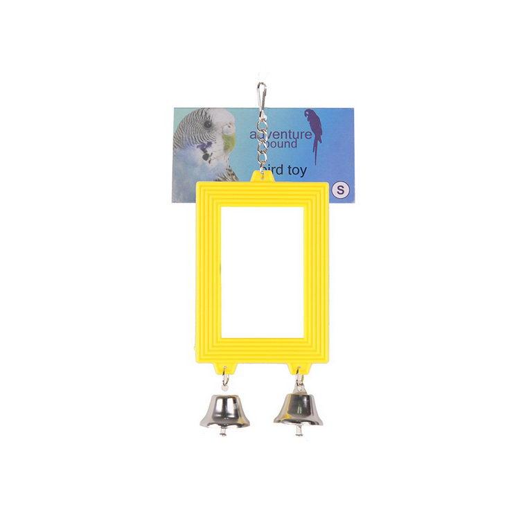 Скай Зеркало для птиц c колокольчиком Mirror желтое, в ассортименте, Sky