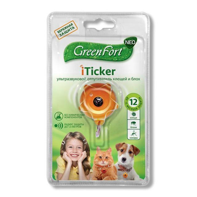 Гринфорт Ультразвуковой отпугиватель клещей и блох GreenFort Neo iTicker для домашних животных, в ассортименте, GreenFort