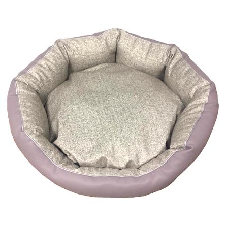 CLP Лежанка круглая Коллекция Экокожа 45*15 см для кошек и собак, в ассортименте, велюровый бортик, Comfort Line for Pets