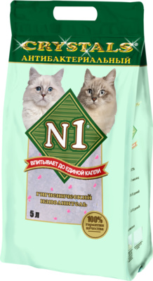 N1 Наполнитель антибактериальный силикагелевый с розовыми гранулами, 5 л / 2 кг, N1