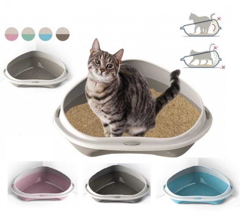 Георпласт Туалет-лоток Shuttle Corner угловой с бортом для кошек, 58*48*20,5 см, в ассортименте, GeorPlast