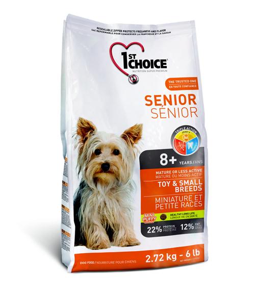Корм Фест Чойс для пожилых собак миниатюрных и мелких пород Senior Toy/Small breeds, Курица, в ассортименте, 1st Choice