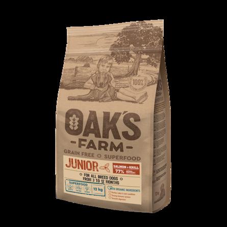Оакс Фарм Корм беззерновой GF Salmon with Krill Junior All Breeds для щенков возрастом 3-12 месяцев, Лосось/Криль, в ассортименте, Oaks Farm