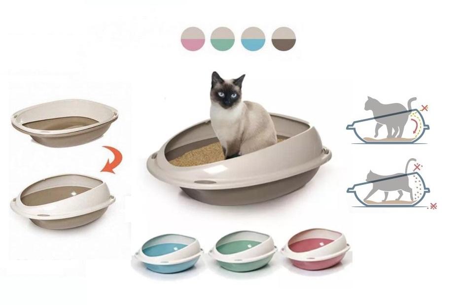 Георпласт Туалет-лоток Shuttle с бортом для кошек, 57*40*19 см, в ассортименте, GeorPlast