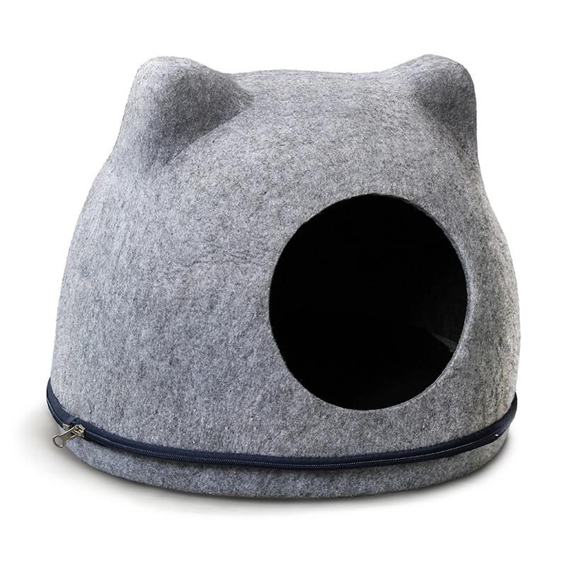 Триол Домик-пещера из войлока Кошкин Дом для кошек и других животных, 43*34*34 см, серый, Triol