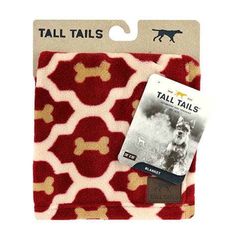 Роузвуд Одеяло для животных Tall Tails флис, красно-бежевое с косточками, в ассортименте, Rosewood