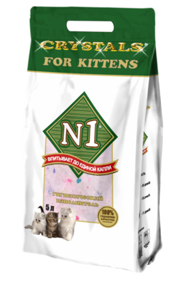 N1 Наполнитель Crystals for Kittens силикагелевый для котят, 5 л / 2 кг, N1