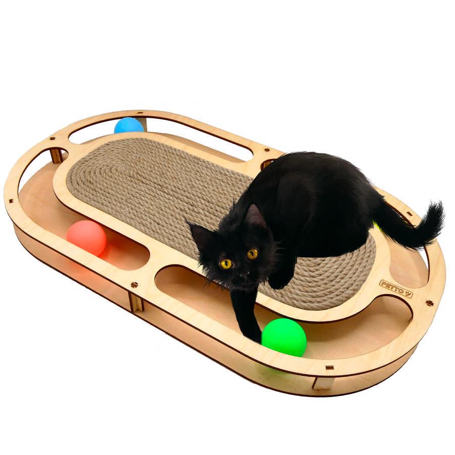 Петто Игровой комплекс для кошек Стадион с шариками 49*27*3,6 см, в ассортименте, Petto