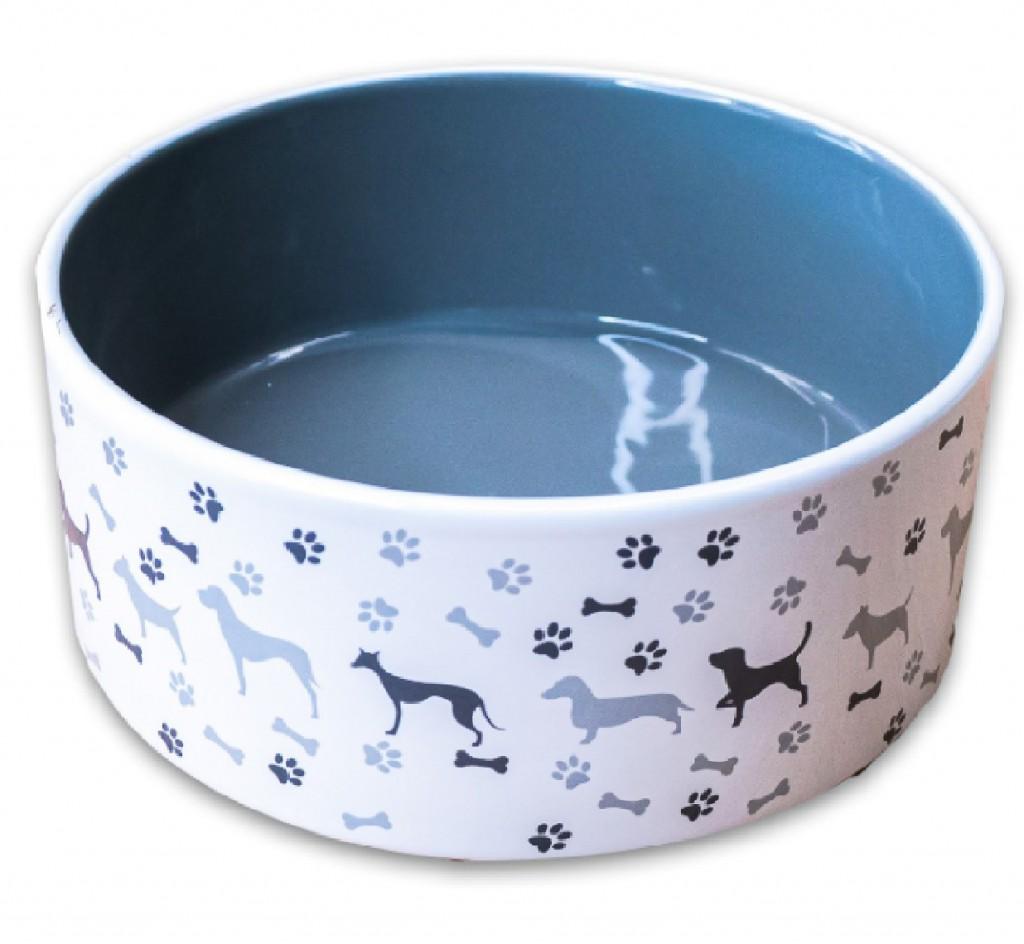 КерамикАрт Миска керамическая с рисунком для собак, серая, KeramikArt