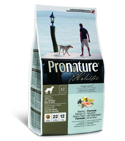 Пронатюр Холистик Беззерновой корм для собак для кожи и шерсти Лосось/Рис, в ассортименте, Pronature