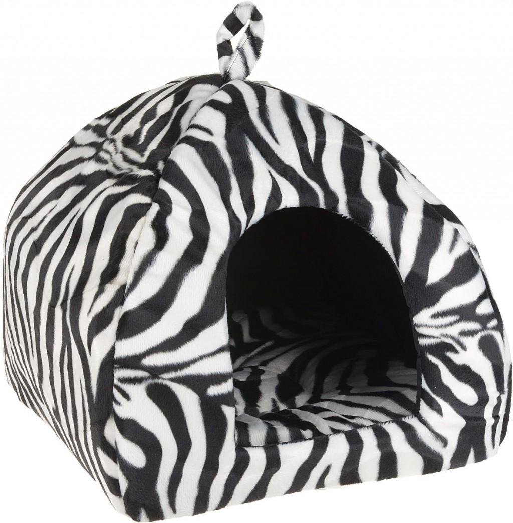 CLP Домик-яранга Зебра, в ассортименте, велюровый мех, Comfort Line for Pets