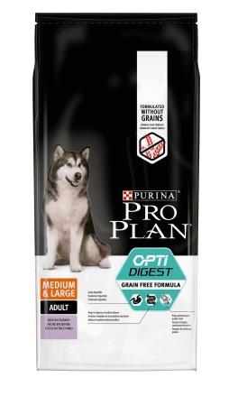 Про План Корм беззерновой Grain Free Formula для собак средних пород с чувствительным пищеварением, Индейка, в ассортименте, Pro Plan