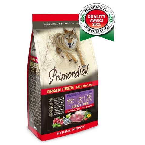 БОНУС Примордиал корм беззерновой Adult Mini для собак мелких пород, Сардина/Гусь, в ассортименте, Primordial
