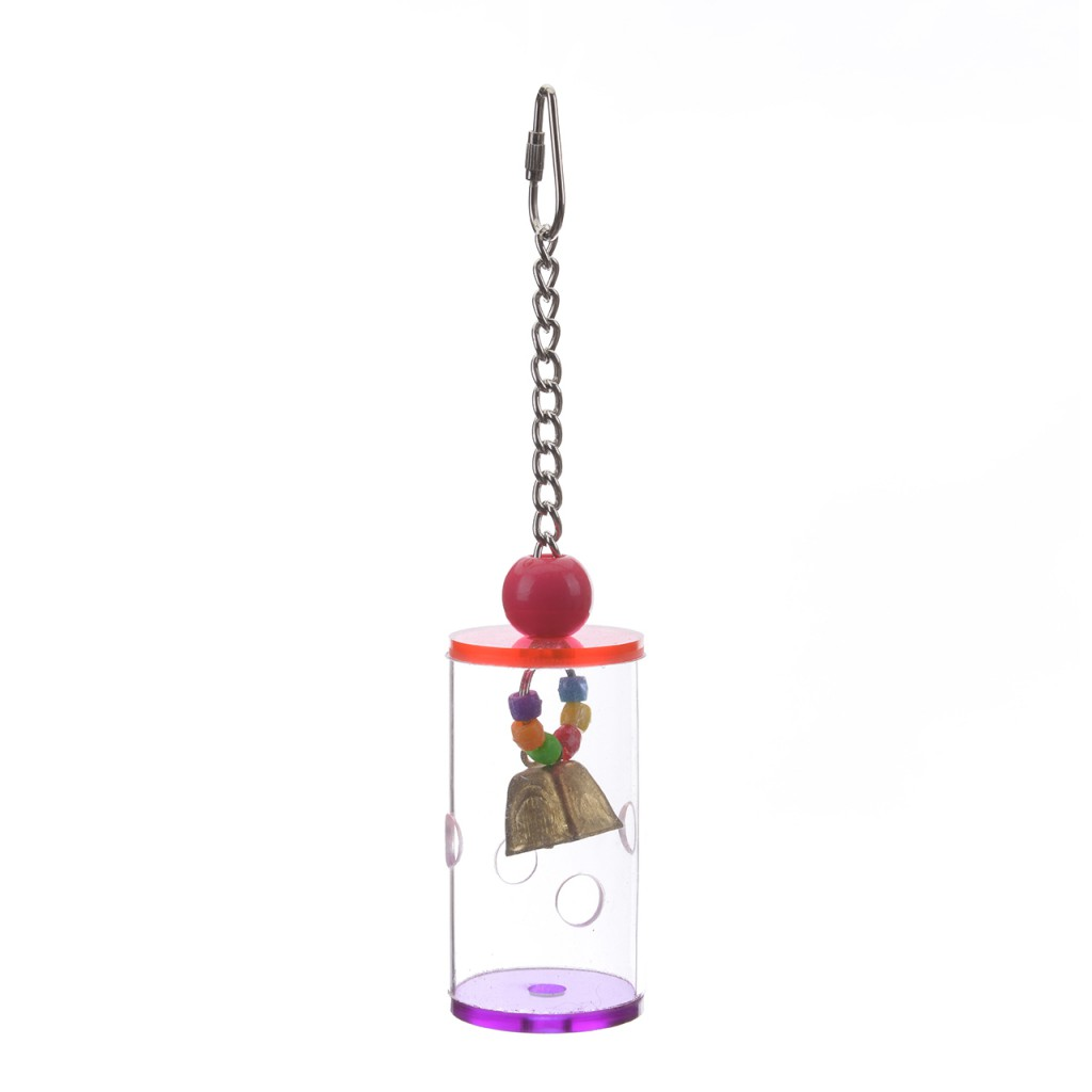 Хеппи Берд Игрушка фуражилка для птиц Бочонок для лакомств с колокольчиком, 23*5 см, акрил, Happy Bird