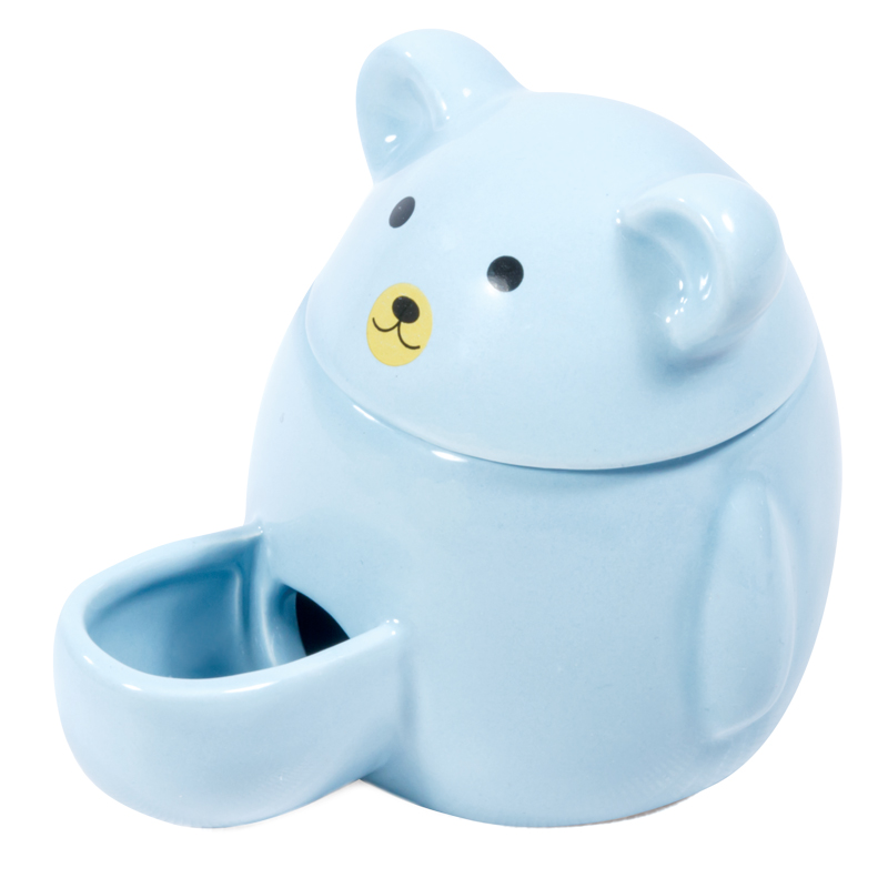 Автокормушка для мелких животных Мишка, 11*8,5*9 см, керамика, голубая, Triol