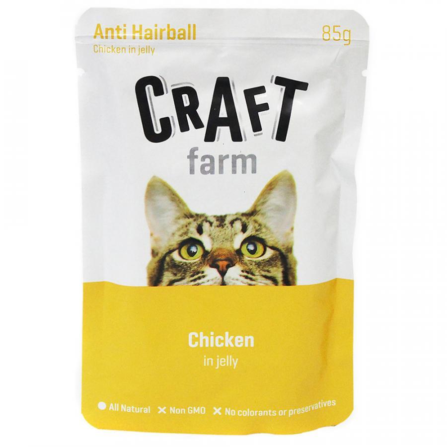 Крафт Фарм Паучи Anti Hairbal для кошек Профилактика образования комков шерсти, Курица в желе 12*85 г, Craft Farm