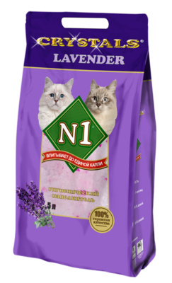 N1 Наполнитель силикагелевый Crystals для кошачьего туалета 5 л / 2 кг, в ассортименте, N1