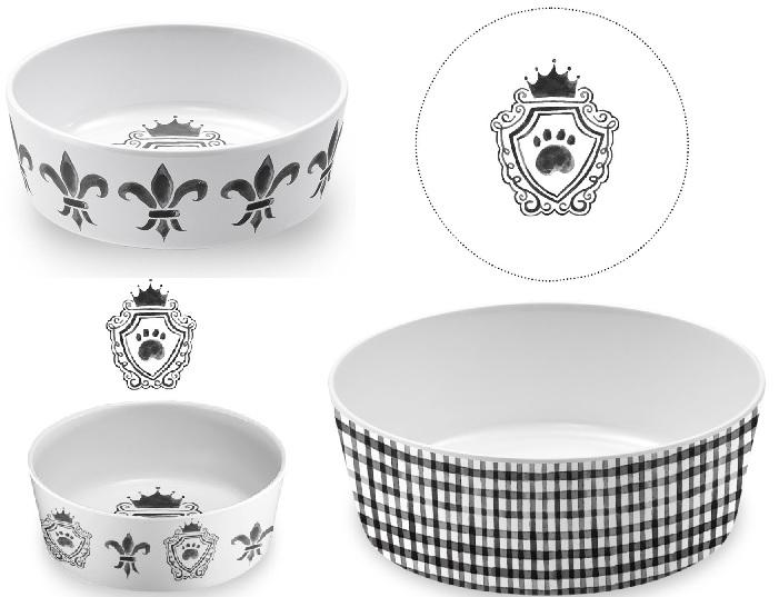 Тархонг Миска для кошек и собак Couture бело-чёрная, в ассортименте, меламин, TarHong