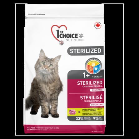 Корм Фест Чойс беззерновой для кастрированных котов и стерилизованных кошек кошек Sterilized, Курица/Батат, в ассортименте, 1st Choice