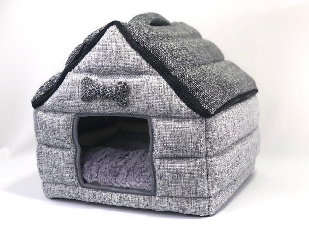 Доглэнд Домик-пещера Избушка для кошек и собак, 37*36*39 см, серая, Dog Land