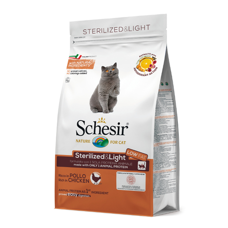 Шезир Корм Sterilized and Light для стерилизованных кошек и с избыточным весом Курица, в ассортименте, Schesir