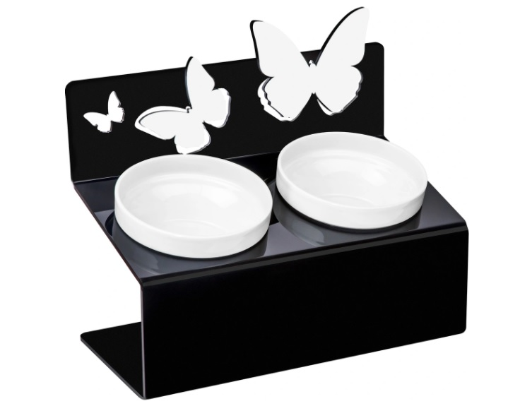 АртМиска Миски фарфоровые на подставке Бабочки S чёрная, 2*800 мл, черная