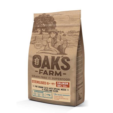 Оакс Фарм Корм беззерновой GF Salmon Sterilised 8+ Cat для стерилизованных кошек старше 8 лет, Лосось, в ассортименте, Oaks Farm