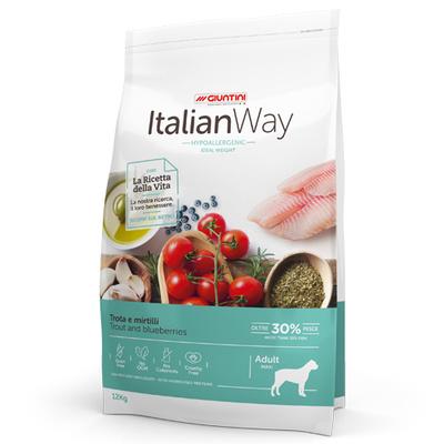 Италиан Вэй Корм сухой беззерновой Maxi Ideal Weight Trout/Blueberry для собак крупных пород Контроль веса и профилактика аллергии, Форель/Черника, 12 кг, Italian Way
