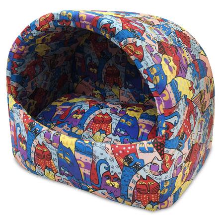 CLP Домик-ракушка Цветные коты, в ассортименте, хлопок, Comfort Line for Pets