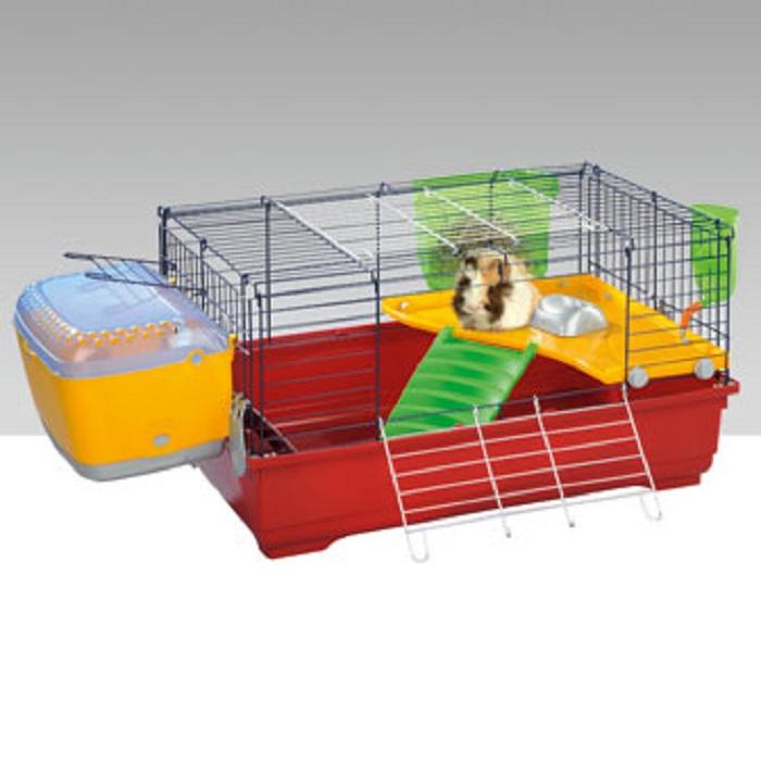 Имак Клетка Easy Plus 80 для кроликов и морских свинок, 80*48,5*42 см, клубнично-красный поддон, Imac