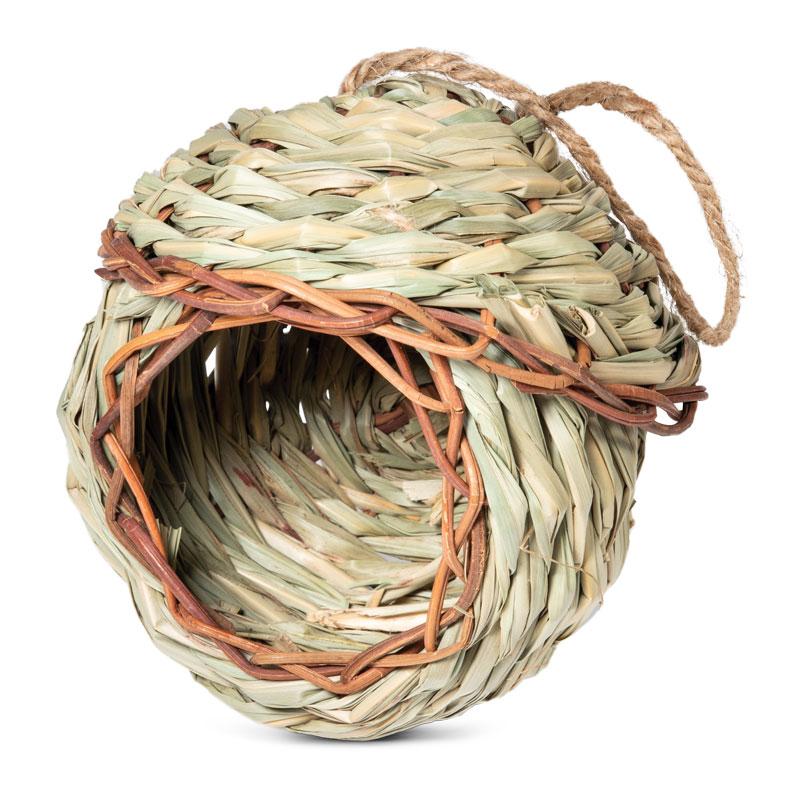 Триол Дом плетеный из луговых трав Избушка NATURAL для птиц и мелких грызунов, диаметр 13 см, Triol