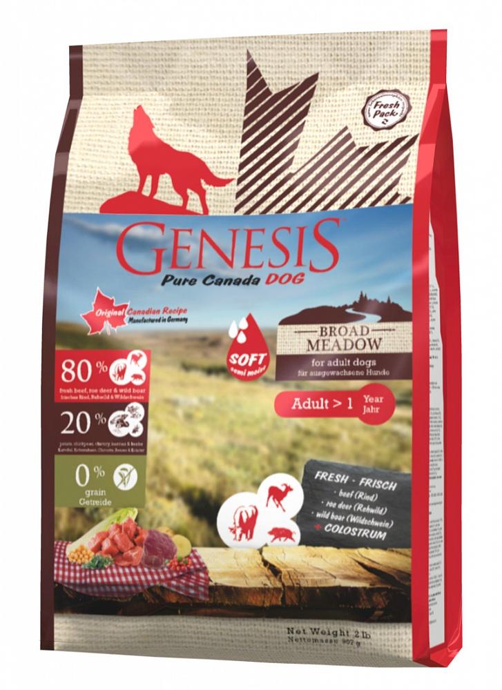 Генезис Корм Pure Canada Broad Meadow Soft (Широкий Луг) с повышенной влажностью для собак с чувствительным пищеварением, Говядина/Косуля/Дикий кабан, в ассортименте, Genesis