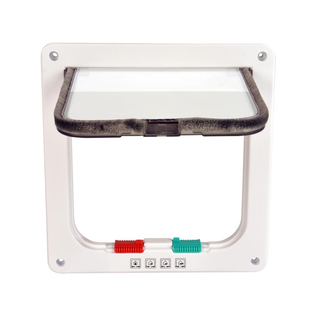 Дуво+ Дверца для кошек и небольших собак, 19*19,7 см, белая рамка, в ассортименте, DUVO+