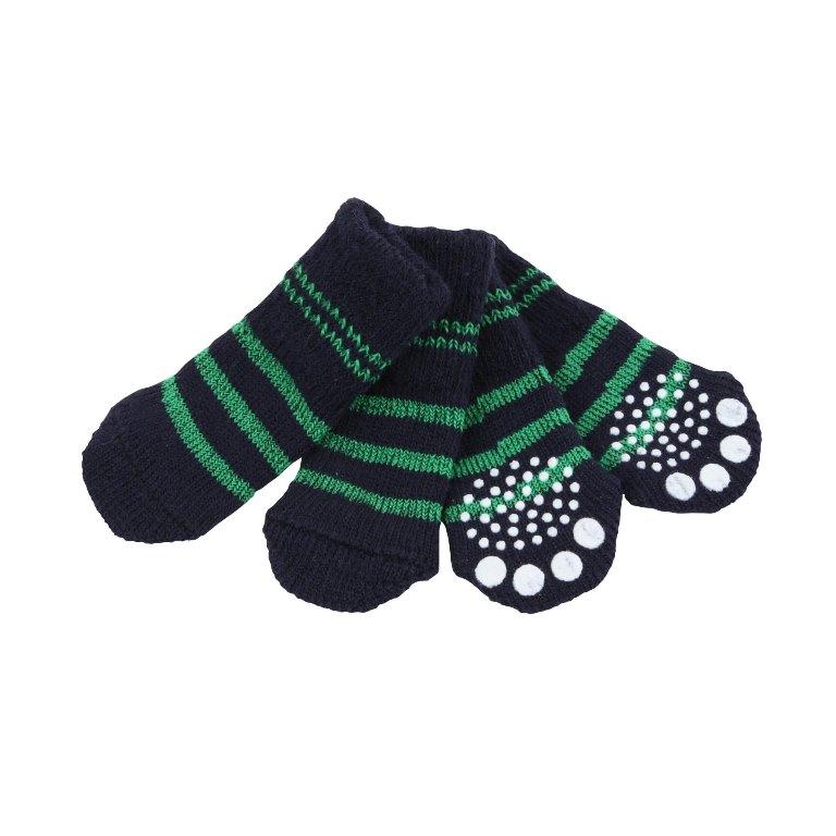 Паппи Носки Nitty-Gritty синие с зелеными полосками, в ассортименте, Puppia
