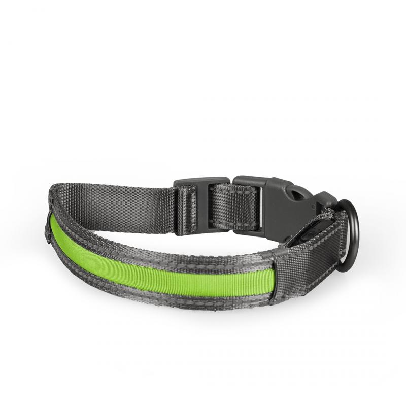 Дуво+ Светящийся ошейник с USB зарядкой серо-зеленый, в ассортименте, нейлон, ширина 2,5 см, Duvo+