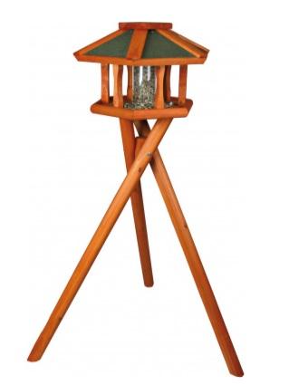 Трикси Кормушка деревянная с подставкой и автокормушкой, для птиц и грызунов, 50*34 см, высота 1,4 м, Trixie