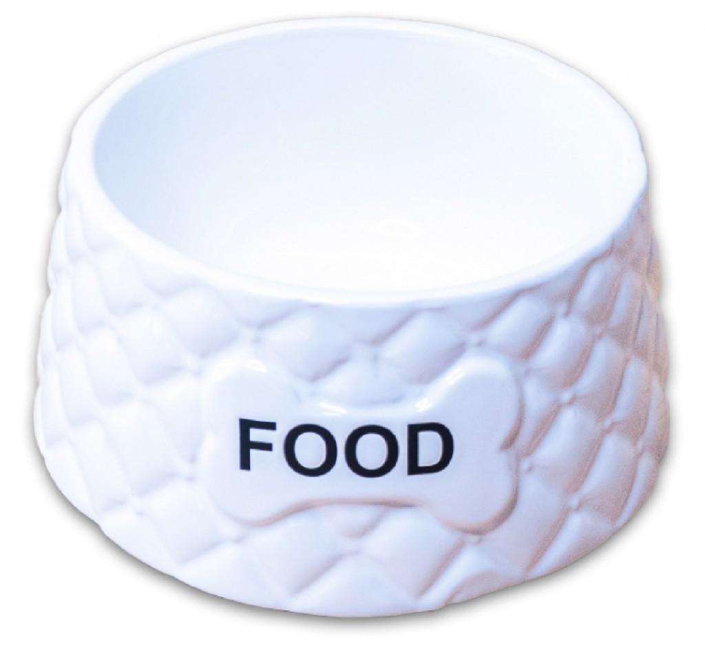 КерамикАрт Миска керамическая Фуд для собак, 680 мл, 18*8,5 см, белая, KeramikArt