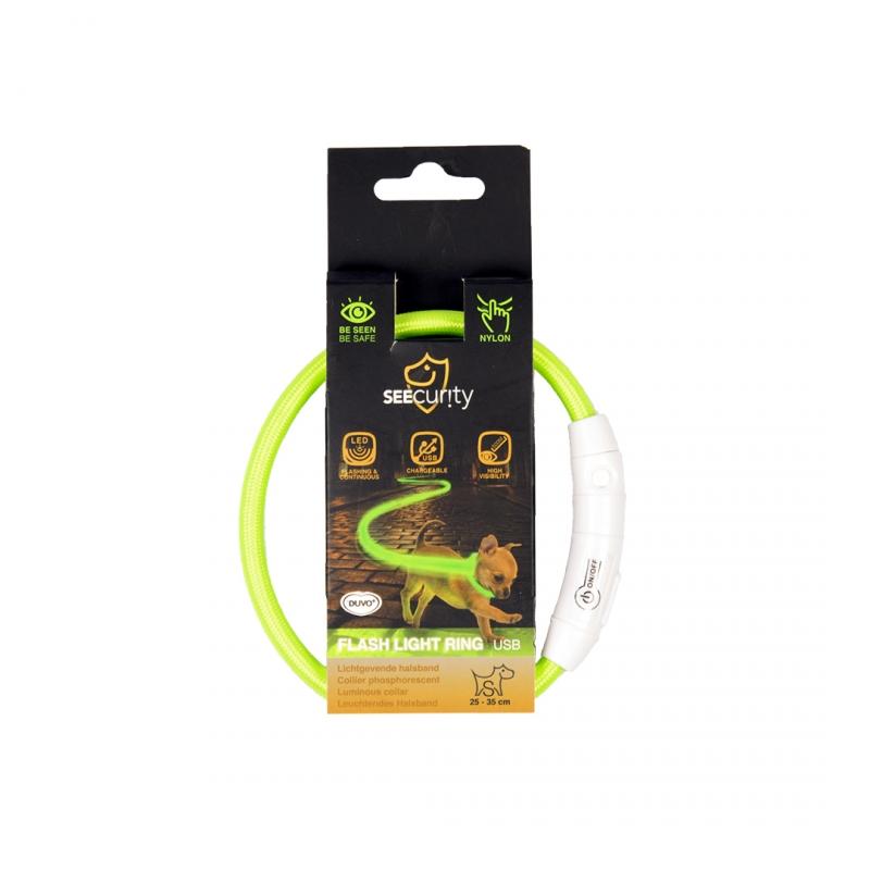 Дуво+ Светящийся ошейник-кольцо с USB зарядкой нейлоновый, зеленый, в ассортименте, Duvo+