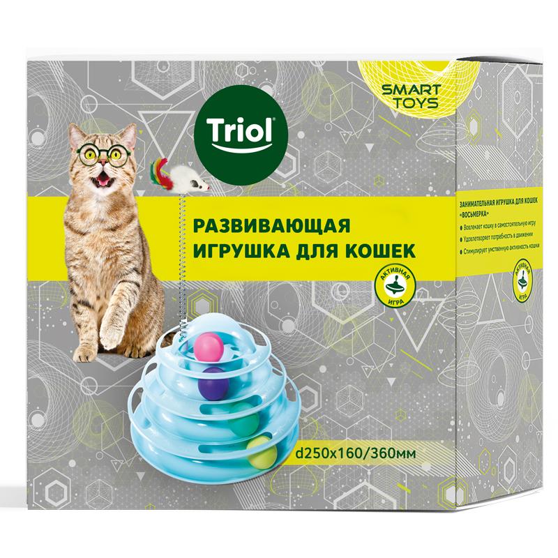 Триол Игрушка для кошек Круглая башня с шариками Пирамида 4 этажа с мышкой на пружине 25*16/36 см, цвет голубой, Triol
