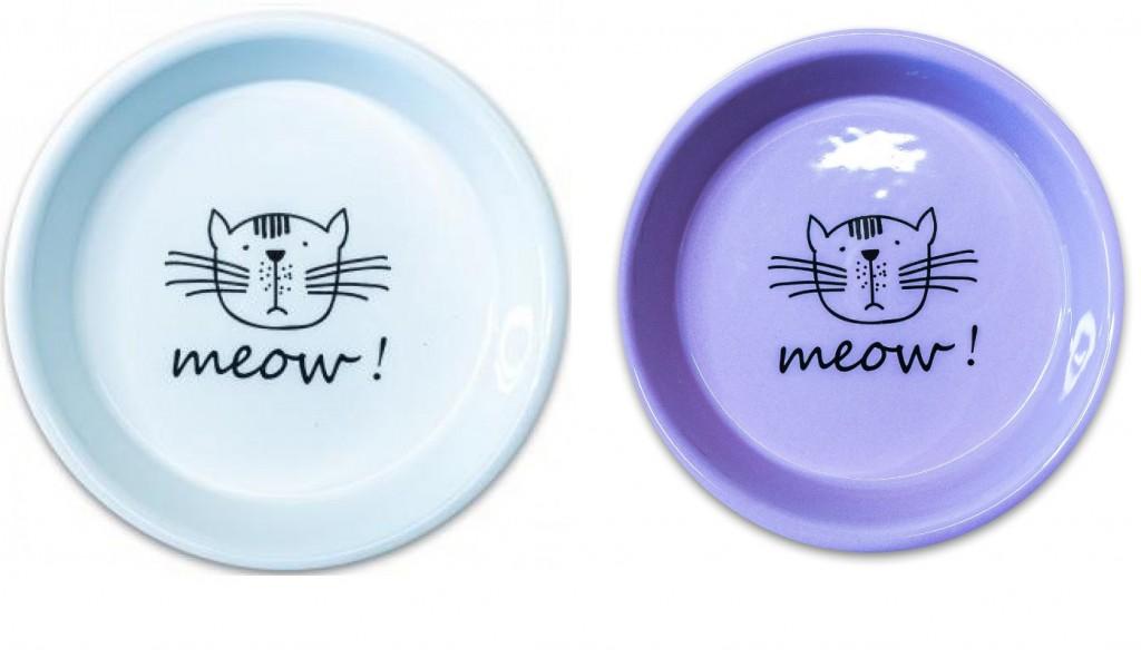 КерамикАрт Миска керамическая Meow для кошек, 200 мл, 14*3 см, в ассортименте, KeramikArt