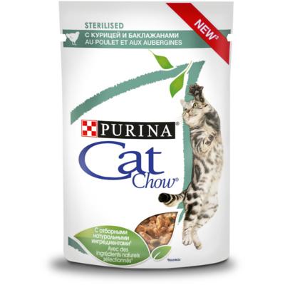 Кэт Чау Паучи для стерилизованных кошек Кусочки в соусе 24*85 г, в ассортименте, Cat Chow Purina