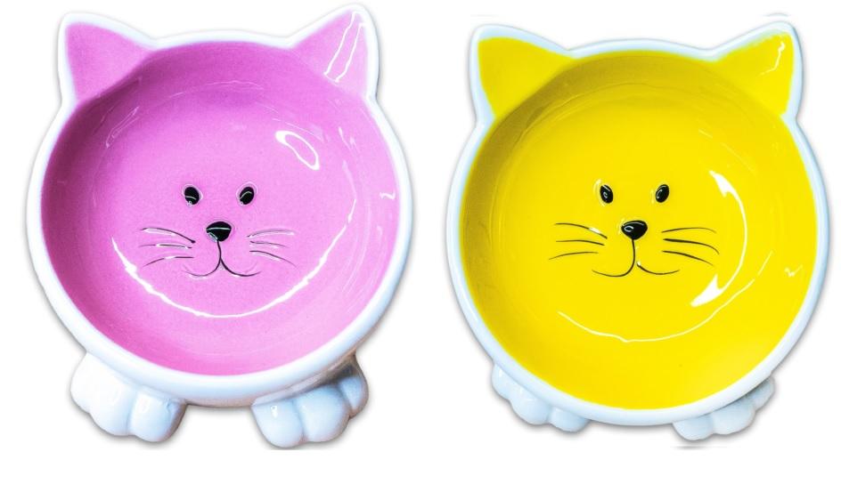КерамикАрт Миска керамическая Мордочка кошки на ножках, 100 мл, 11,5*8 см, в ассортименте, KeramikArt